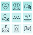 set of 9 communication icons includes online vector image vector image