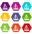 small boat icon set color hexahedron vector image vector image