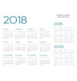 spanish calendar 2018-2019-2020 vector image vector image