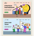 strategic partnership join our team website set vector image vector image