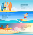 surfing banners surfers people vector image vector image
