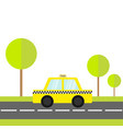 taxi car cab icon on road green grass tree vector image vector image