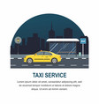 taxi stopped at the bus stop on night city vector image vector image
