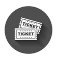 ticket icon flat ticket with long shadow vector image vector image