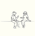 two sitting old women talking vector image