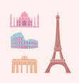 world famous sights and landmarks travel stickers vector image vector image