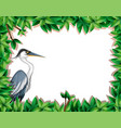 a stork on nature frame vector image vector image