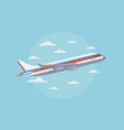airplane in blue sky with white clouds traveling vector image vector image