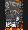 back to school supplies sale poster on blackboard vector image vector image