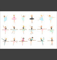 ballerinas training in dance class set of flat vector image