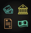 banking icon set in neon line style vector image vector image