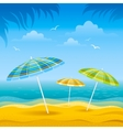 Beach background with blue sea and stripped beach vector image vector image