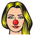 beautiful woman - red nose day vector image vector image
