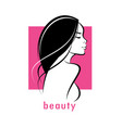 beautiful woman stylized silhouette haircut vector image