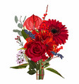 bouquet red christmas flowers and berries vector image vector image