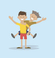 boy riding on the back of a friend vector image vector image