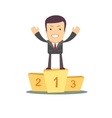 Businessman winner standing in first place on a vector image