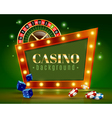 Casino Festive Lights Green Background Poster vector image vector image