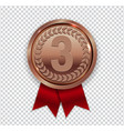 champion art bronze medal with red ribbon icon vector image vector image