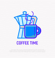 coffee time thin line icon coffee maker and cup vector image