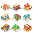 commercial city shops signs 3d icons set isometric vector image vector image