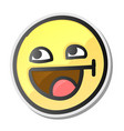 cute emoji smiling face with open mouth and vector image