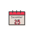 december 25 christmas calendar vector image