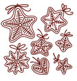 doodle set gingerbread cookies various vector image