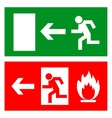 Emergency fire exit door and exit door sign with vector image
