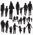 family 5 silhouettes vector image vector image