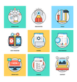 Flat Color Line Design Concepts Icons 11 vector image vector image