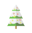 flat decorated cartoon christmas snowy tree vector image