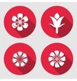 Flower icons set Chamomile daisy blue poppy vector image vector image