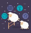 good night sleep cartoon sheep animals vector image