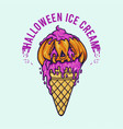 halloween pumpkin ice cream cone vector image vector image