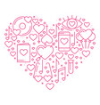 heart with love symbols in line style love couple vector image vector image