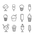 Ice cream set line icons vector image