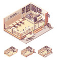 isometric coffee shop or coffeehouse vector image vector image