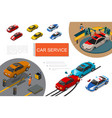isometric garage service composition vector image vector image