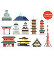 japan famous landmark icons vector image