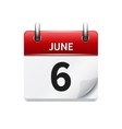 June 6 flat daily calendar icon Date and vector image vector image