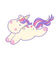 kawaii cute unicorn sflies and dreams pastel color vector image vector image
