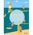 Male surfer riding on waves in sea vector image vector image