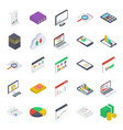 mobile analytics isometric icons pack vector image vector image