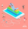 mobile music flat isometric concept vector image vector image