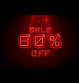 neon frame 80 off text banner night sign board vector image vector image