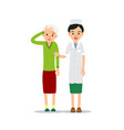 nurse and patient young physician stands and vector image