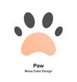 paw mono color icon vector image vector image