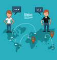 poster of global people with blue background with vector image vector image