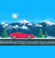 red sports car and mountain landscape game vector image vector image